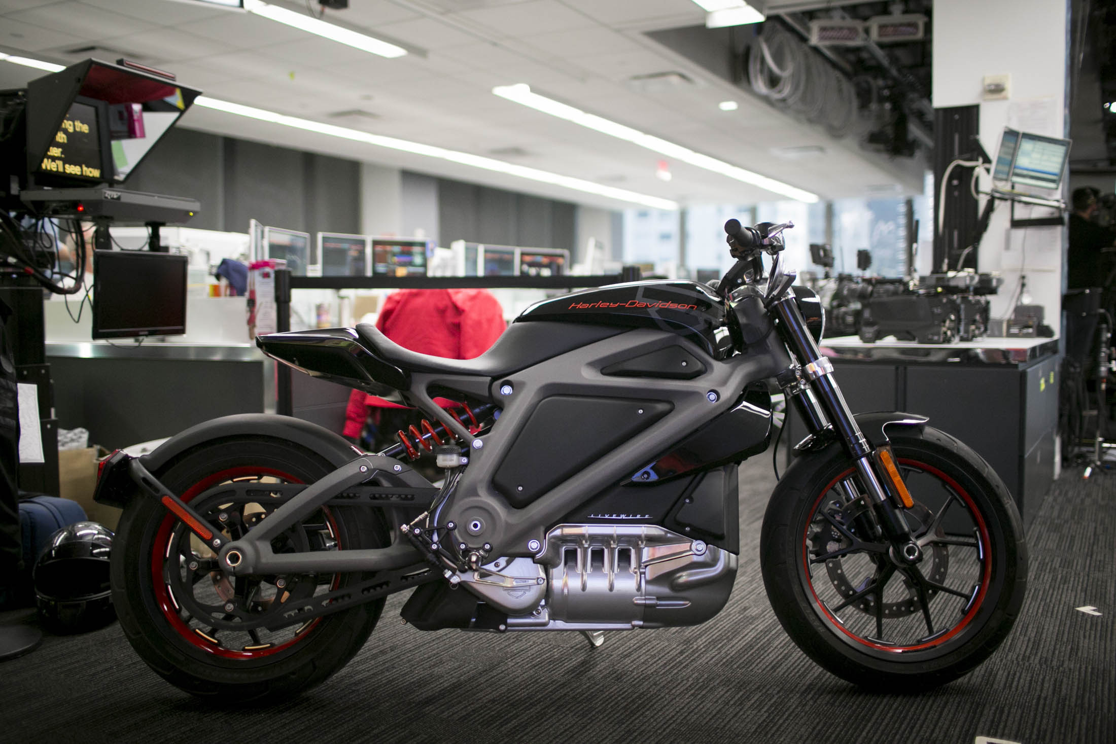 A Harley-Davidson Inc. LiveWire electric motorcycle sits parked in the Bloomberg Television studios in New York, U.S., on Monday, June 23, 2014. Harley-Davidson Inc., whose storied highway cruisers are as loud as they are large, will take 22 electric bikes on a U.S. tour to solicit reactions that will help shape the environmentally aware vehicle's development. Depending on the feedback, the no-exhaust Harley may never make it out of R&D. Photographer: Scott Eells/Bloomberg