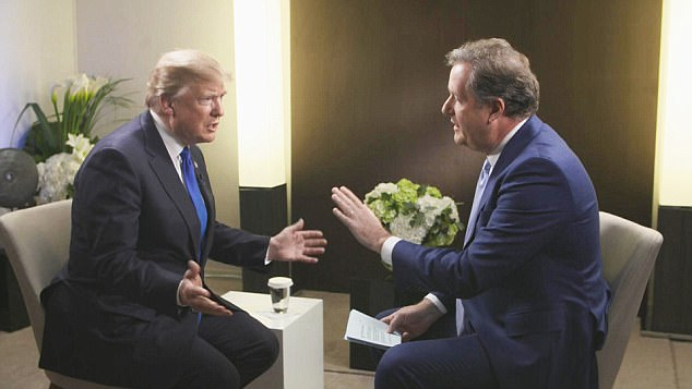 From ITV Studios Daytime PRESIDENT TRUMP - THE PIERS MORGAN INTERVIEW  airs Sunday 28th January at 10pm on ITV  Pictured: President Trump with Piers Morgan  As he marks his first anniversary in the job, President of the United States Donald Trump gives his first international broadcast interview to Good Morning Britain host Piers Morgan for an exclusive, peak-time ITV special this Sunday. © ITV  For further information please contact Peter Gray 0207 157 3046 peter.gray@itv.com   This photograph is © ITV and can only be reproduced for editorial purposes directly in connection with the  programme PRESIDENT TRUMP - THE PIERS MORGAN INTERVIEW or ITV. Once made available by the ITV Picture Desk, this photograph can be reproduced once only up until the Transmission date and no reproduction fee will be charged. Any subsequent usage may incur a fee. This photograph must not be syndicated to any other publication or website, or permanently archived, without the express written permission of ITV Picture Desk. Full Terms and conditions are available on the website www.itvpictures.com