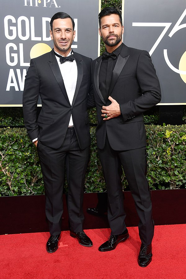 BEVERLY HILLS, CA - JANUARY 07: Actor/singer Ricky Martin (R) and Jwan Yosef attend The 75th Annual Golden Globe Awards at The Beverly Hilton Hotel on January 7, 2018 in Beverly Hills, California. (Photo by Frazer Harrison/Getty Images)