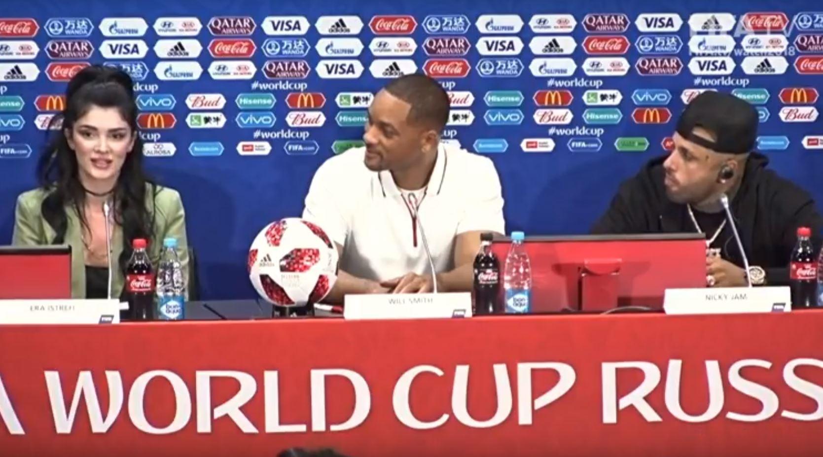 Era Istrefi, Will Smith dhe Nicky Jam dalin në konferencë shtypi para finales së Botërorit