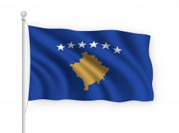 3d waving flag Kosovo on flagpole Isolated on white background.